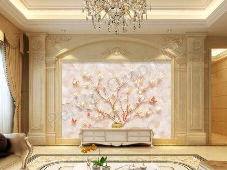 سفارشی سازی دیوار گل برجسته مینیمالیستی سه بعدی طرح کاغذ دیواری
