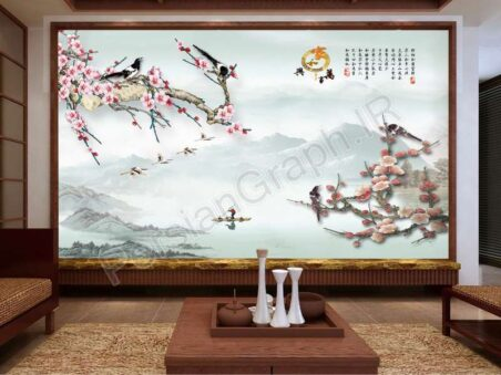طرح کاغذ دیواری مدرن مینیمالیست 3D استریو نارگیل قایق بادبانی تلویزیون دیوار پس زمینه