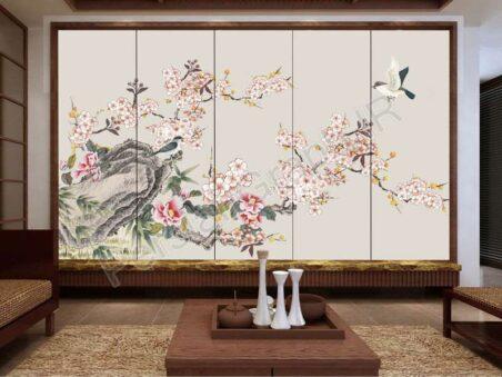 طرح کاغذ دیواری نوردیک مدرن جنگل زیبا Sika deer bird تلویزیون پس زمینه دیوار