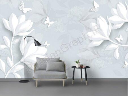 طرح کاغذ دیواری مدرن مینیمالیستی شاخه گل صورتی مد کوچک و دیوار زمینه زیبا و زیبا