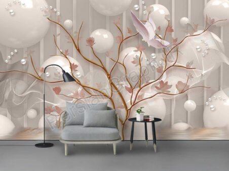 طرح کاغذ دیواری مدرن مینیمالیست طلای درخت طلای گل مد دیوار زمینه چینی زیبا