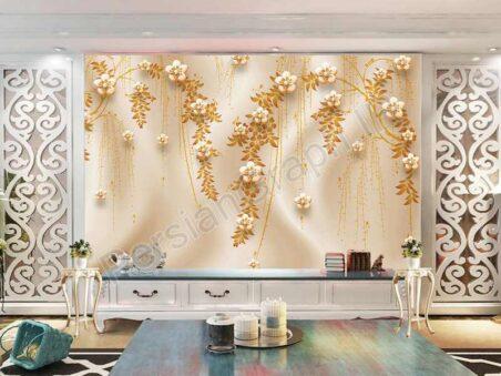 طرح کاغذ دیواری سه بعدی نقش برجسته درخت ثروت پرواز پرنده نقاشی دیواری پس زمینه