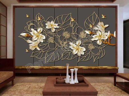 طرح کاغذ دیواری نقاشی روغن مدرن برجسته گل حنایی گل دیواری پس زمینه
