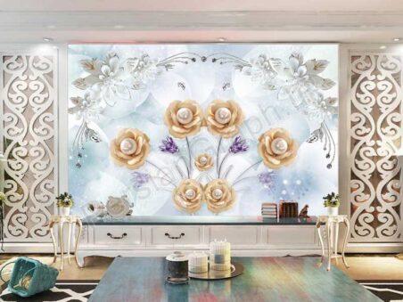 طرح کاغذ دیواری مدرن مینیمالیستی برگ طلایی فرفورژه پارچه تزئینی دیوار زمینه تلویزیون