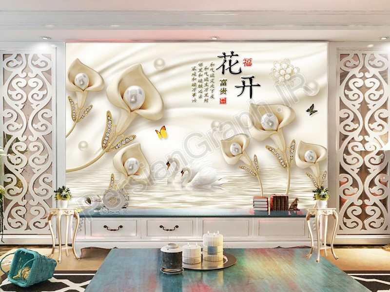 طرح کاغذ دیواری مدرن مینیمالیستی نقاشی جوهر خطوط انتزاعی پرواز پرندگان تلویزیون دیوار پس زمینه