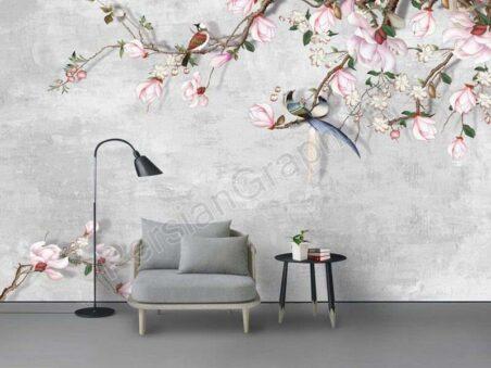 دیوار زمینه گل برجسته مینیمالیستی سه بعدی طرح کاغذ دیواری