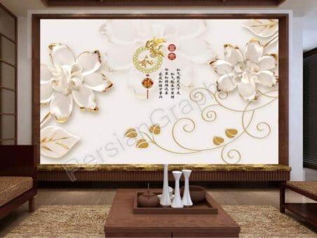طرح کاغذ دیواری شیک لوکس مروارید جواهرات گل دیواری پس زمینه تلویزیون