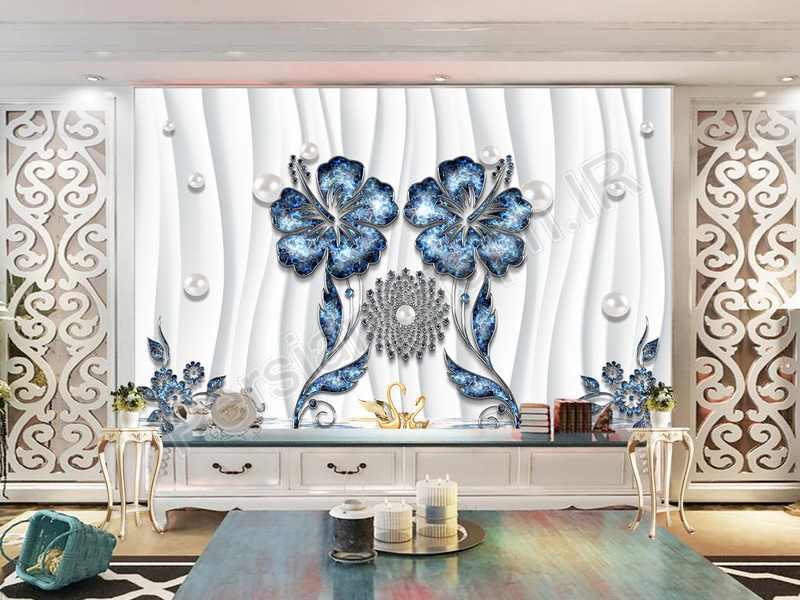 طرح کاغذ دیواری مدرن مینیمالیست 3D برجسته سه بعدی گل ماهی مرکب دیوار پس زمینه تلویزیون