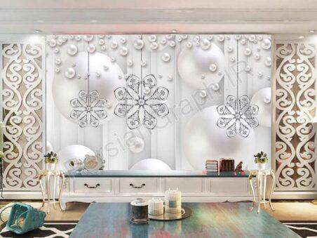 دسته گل عناصر برش کاغذ طرح کاغذ دیواری سه بعدی دیوار زمینه سفید تلویزیون خاکستری
