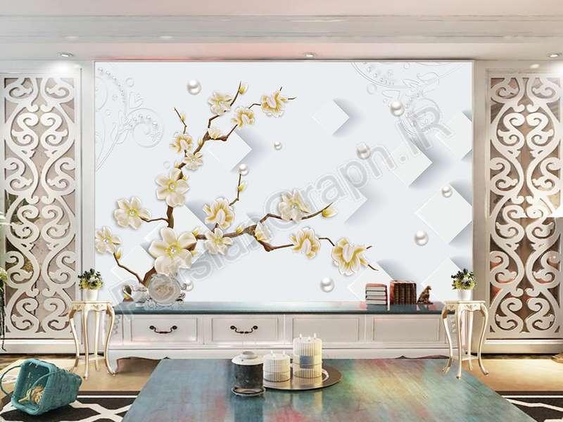 طرح کاغذ دیواری ساده سه بعدی شاخه گل دیوار جواهرات پس زمینه دیوار