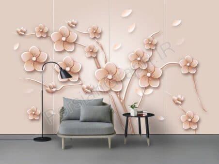 طرح کاغذ دیواری قلم چینی و گل مگنولیای جدید چینی