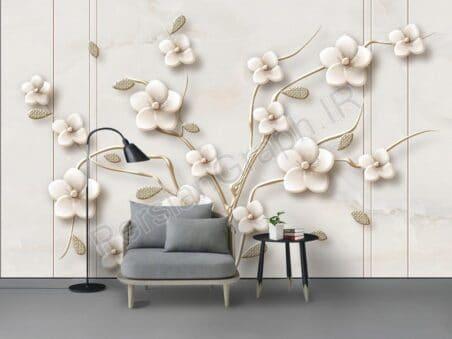 طرح کاغذ دیواری الماس سفید پنوم پن گل گل مروارید سفید قو طلایی دریاچه قو پشت مدرن