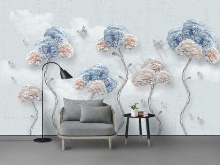 طرح کاغذ دیواری نوردیک مینیمالیستی دست ساز نقاشی پرنده استوایی گیاه تلویزیون دیوار زمینه زمینه