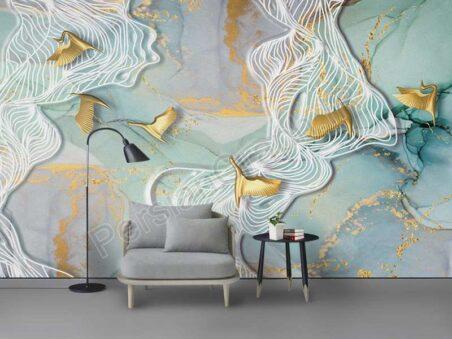 نقاشی دیواری پس زمینه گوزن برجسته سه بعدی برجسته طرح کاغذ دیواری